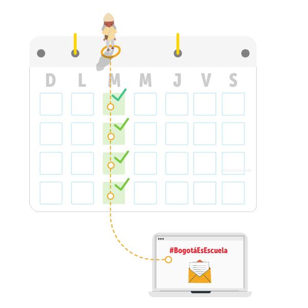 """La imagen muestra un calendario señalando todos los miércoles del mes, en la parte superior una mujer y en la inferior un sobre, arriba el texto en rojo """"#BogotáEsEscuela"""". Estos dos se unen con líneas Inter punteadas atravesando verticalmente el calendario."""