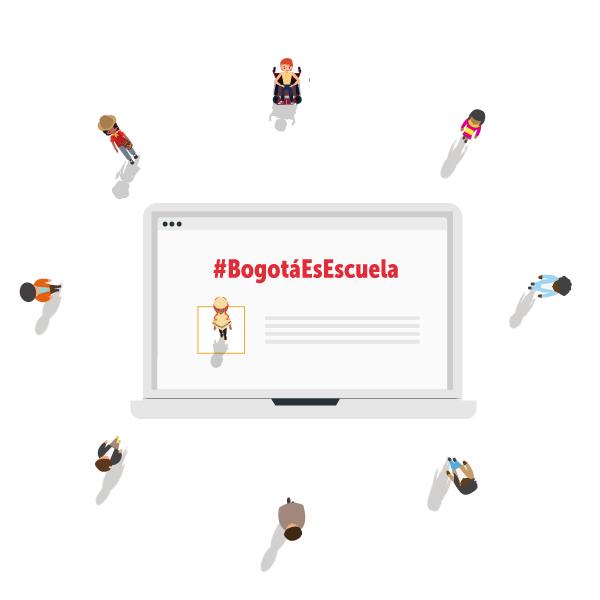 """La imagen muestra la pantalla de un computador con un hombre visto desde arriba con un párrafo, en la parte superior """"#BogotáEsEscuela"""", en rojo. Este alrededor 8 personas formando un círculo."""