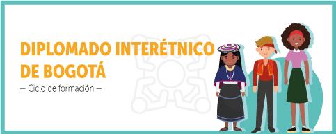 """La imagen muestra en el costado izquierdo el siguiente texto con letras amarillas """"INTERÉTNICO"""", más pequeño en letras negras """"-Ciclo de formación"""", de izquierda a derecha mujer con camisa    azul y falda, hombre con saco naranja y pantalón gris, mujer afro descendiente con camisa lila y falda verde."""